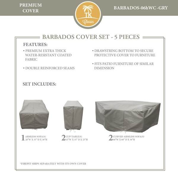 Barbados 5 Piece Water Resistant Patio Sofa Cover Set by TK Classics
