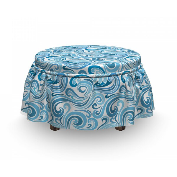 Abstract Sea Waves Ottoman Slipcover (Set Of 2) By East Urban Home