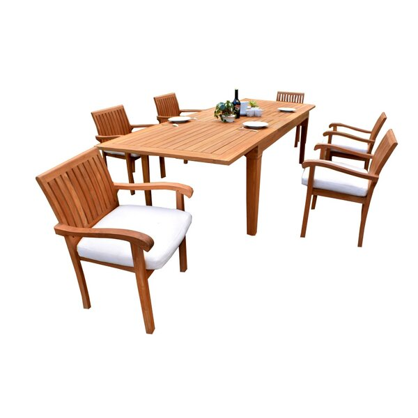 Divisadero Luxurious 7 Piece Teak Dining Set by Rosecliff Heights