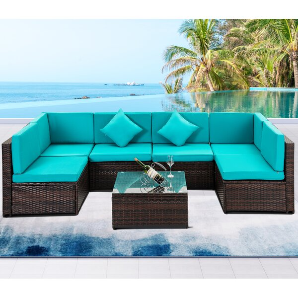 Chewton 7 Piece Rattan Sectional Seating Group with Cushions by Latitude Run