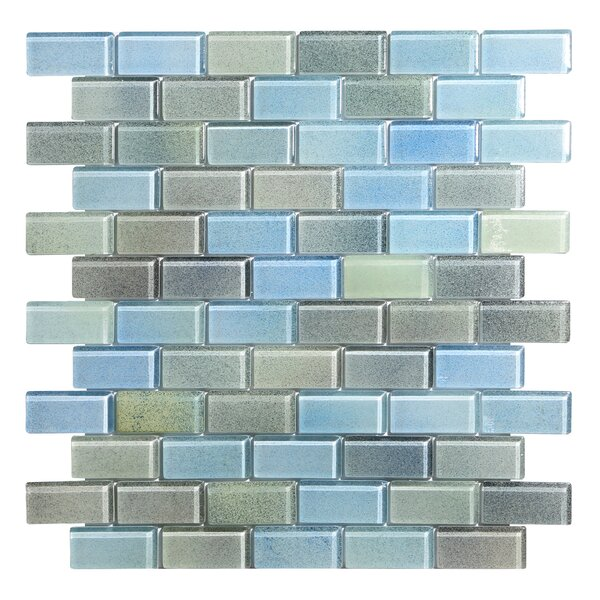 Hi-Fi Offset Brick 1 x 2 Glass Mosaic Tile in Powdered Blue/Sea Green/Beige by Kellani