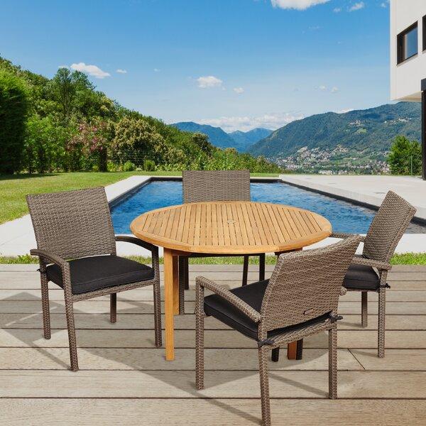 Arango 5 Piece Teak Dining Set with Cushions by Beachcrest Home