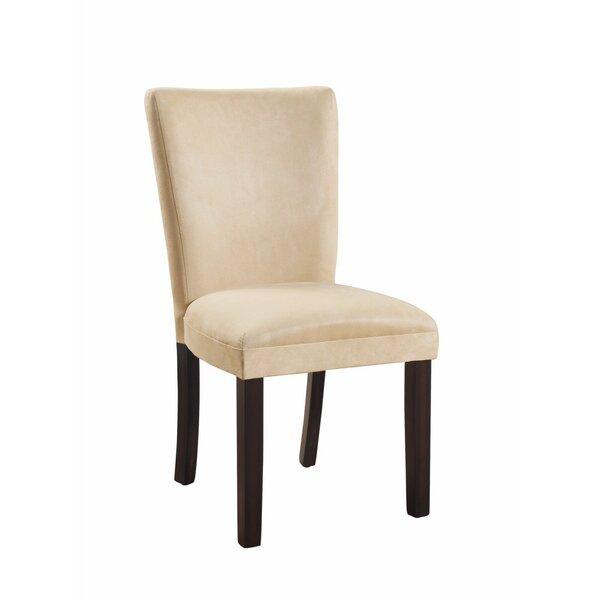 Hoekstra Modish Side Genuine Leather Upholstered Dining Chair (Set of 2) by Winston Porter