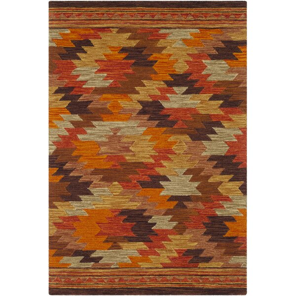 Morais Bohemian Hand Hooked Wool Terracotta/Bright Red Area Rug by Loon Peak