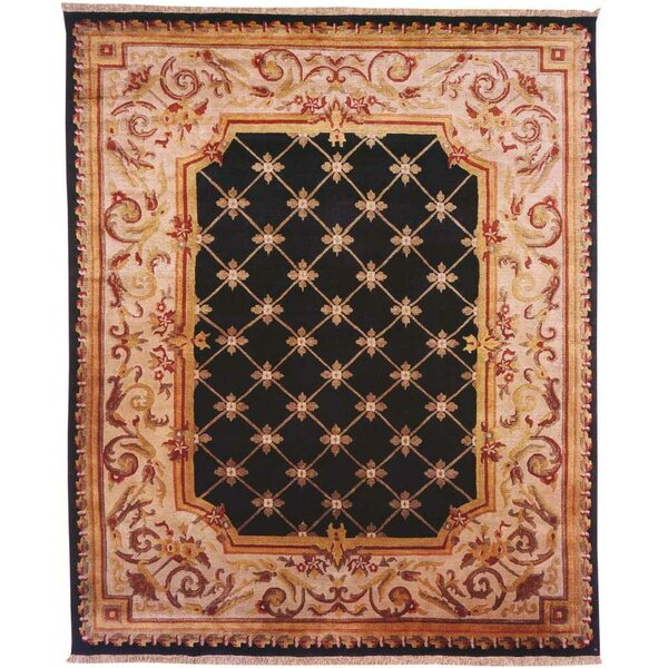 Hand-Knotted Black/Beige Area Rug by Meridian Rugmakers
