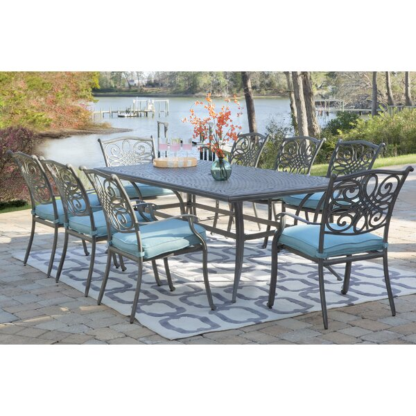 Wyton 9 Piece Dining Set with Cushion by Charlton Home