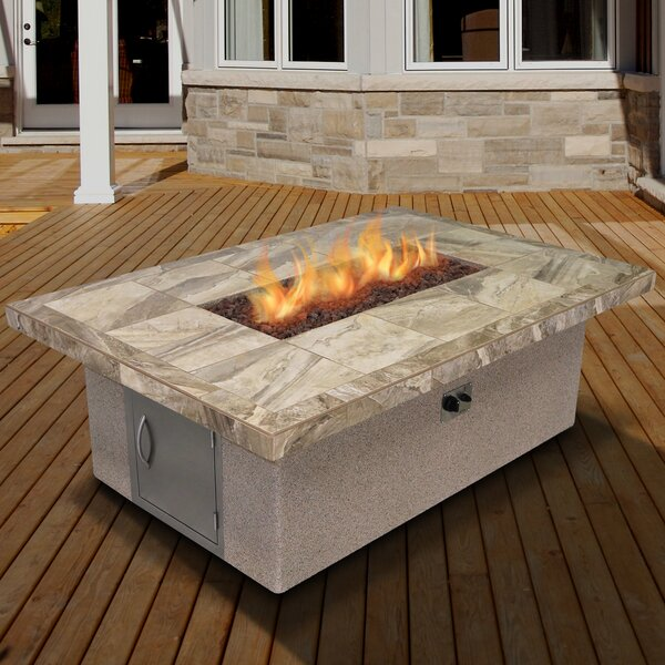 Stucco and Tile Rectangle Steel Propane Fire Pit Table by Cal Flame