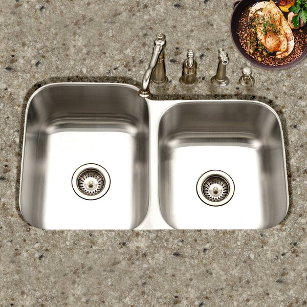 Medallion Classic 31.5 L x 17.94 - 20.19 W Undermount Double Bowl 60/40 Kitchen Sink with Small Right Bowl by Houzer