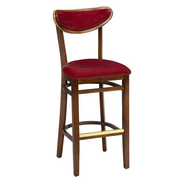 Amoroso Beechwood Moon Shape Back Upholstered Seat Bar Stool by Red Barrel Studio