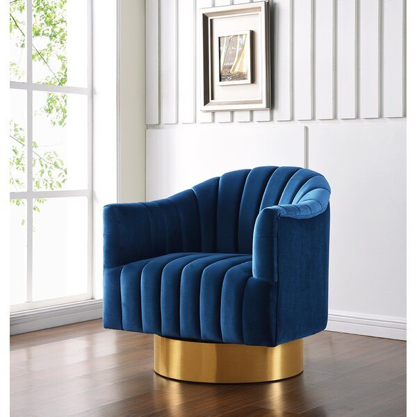 Chambliss Velvet Swivel Barrel Chair by Mercer41