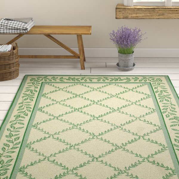 Kinchen Ivory & Light Green Wilton Trellis Area Rug by August Grove