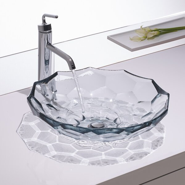 Briolette Glass Circular Vessel Bathroom Sink by Kohler