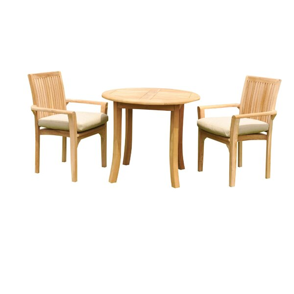 Massie 3 Piece Teak Bistro Set by Rosecliff Heights