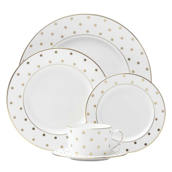 Larabee Road Gold Bone China 5 Piece Place Setting, Service for 1 by kate spade new york