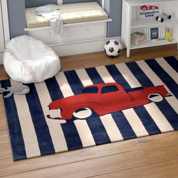 Cherish Navy/Red Stripe Area Rug by Harriet Bee
