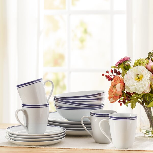 Wayfair Basics 16 Piece Striped Porcelain Dinnerwa