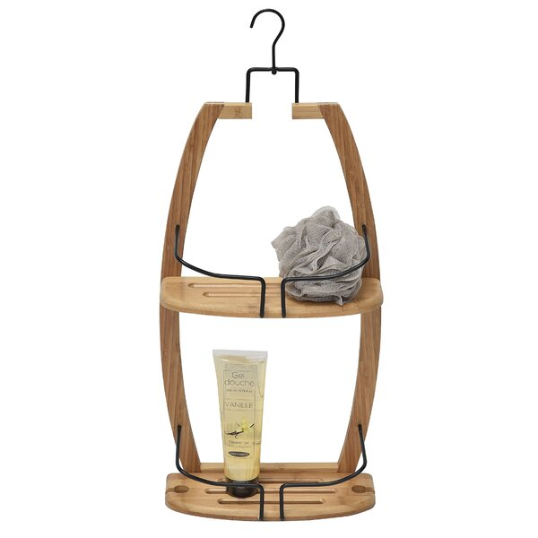 Over the Showerhead Caddy for Shampoo, Soap, Conditioner- Bamboo-Wire Metal by Evideco