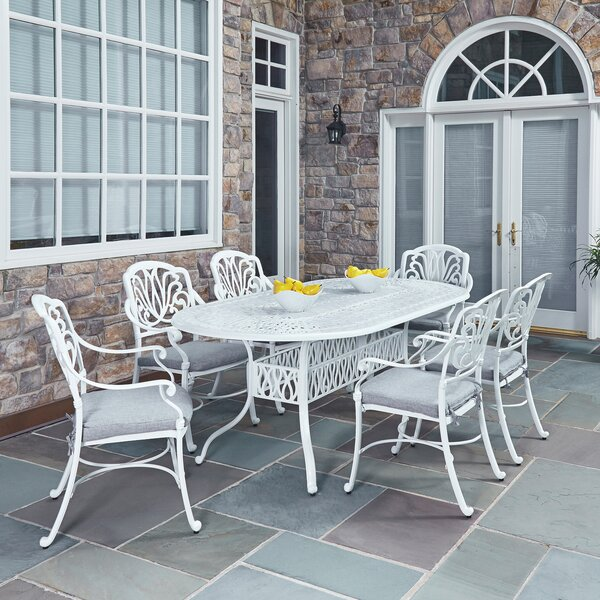 Floral Blossom 7 Piece Dining Set with Cushions by Home Styles