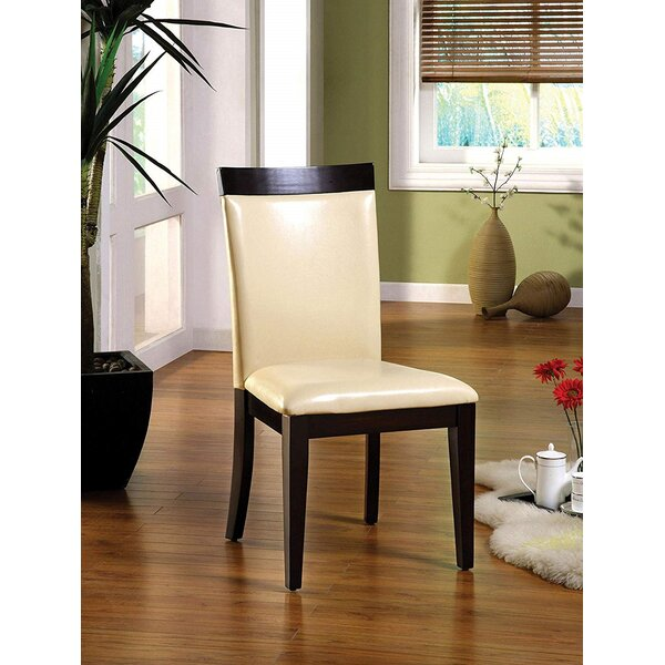 Bove Leather Upholstered Side Chair in Espresso and Ivory (Set of 2) by Red Barrel Studio Red Barrel Studio