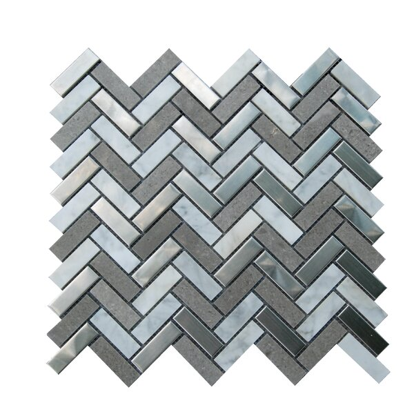 0.6 x 2 Marble Mosaic Tile in Gray/White by Luxsurface