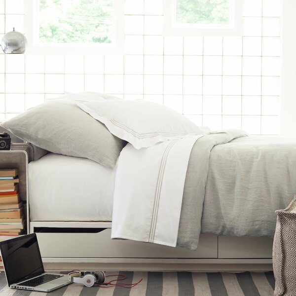 Stone Washed Pearl Single Duvet Cover