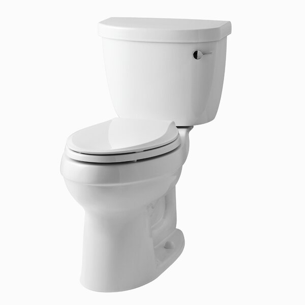 Cimarron Comfort Height Two-Piece Elongated 1.6 GPF Toilet with Aquapiston Flush Technology, Right-Hand Trip Lever and Tank Cover Locks by Kohler