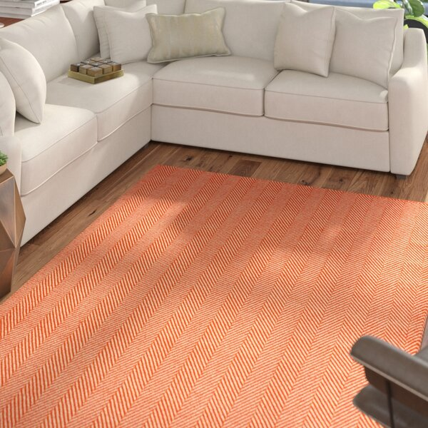 Nathanial Hand Woven Cotton Orange Area Rug by Langley Street