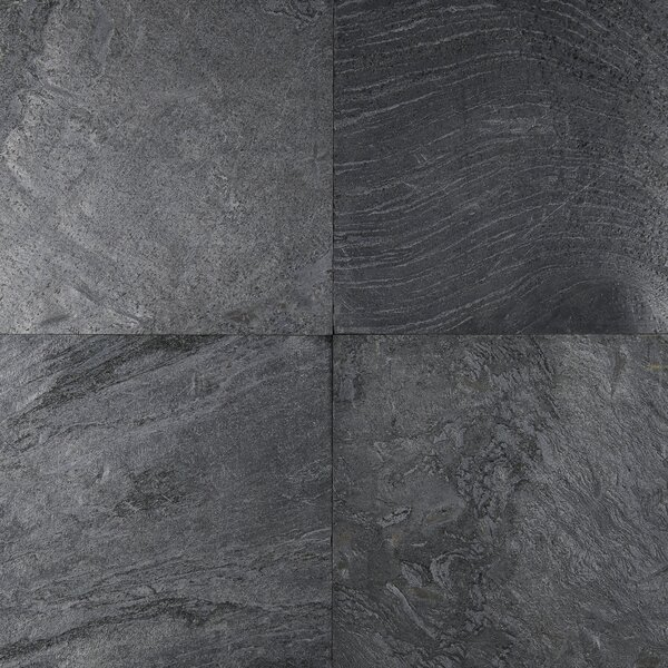 12 x 12 Natural Stone Field Tile in Polished Ostrich Grey by MSI