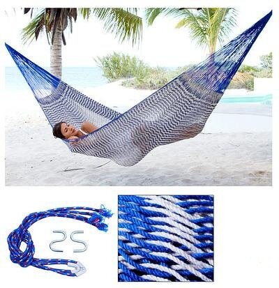 Portable Single Person Ocean Waves Hand-Woven Mayan Artists of the Yucatan Natural Cotton with Hanging Accessories Included Camping or Outdoor Hammock by Novica