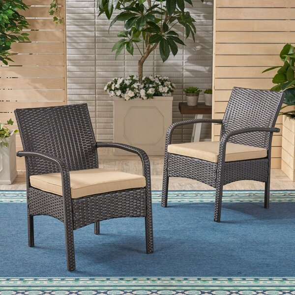 Grissett Patio Chair with Cushion (Set of 2) by Gracie Oaks