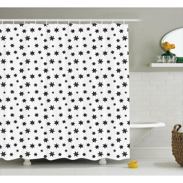 Deborah Starry Pattern With Little Big Stars Punk Grunge Style Modern For Teens Room Shower Curtain by Ebern Designs
