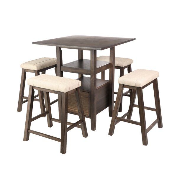 Dixson 5 Piece Counter Height Solid Wood Dining Set by Loon Peak