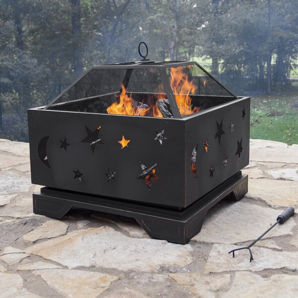 Stargazer Steel Wood Burning Fire Pit by Pleasant Hearth