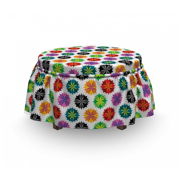 Vibrant Abstract Flora Ottoman Slipcover (Set Of 2) By East Urban Home