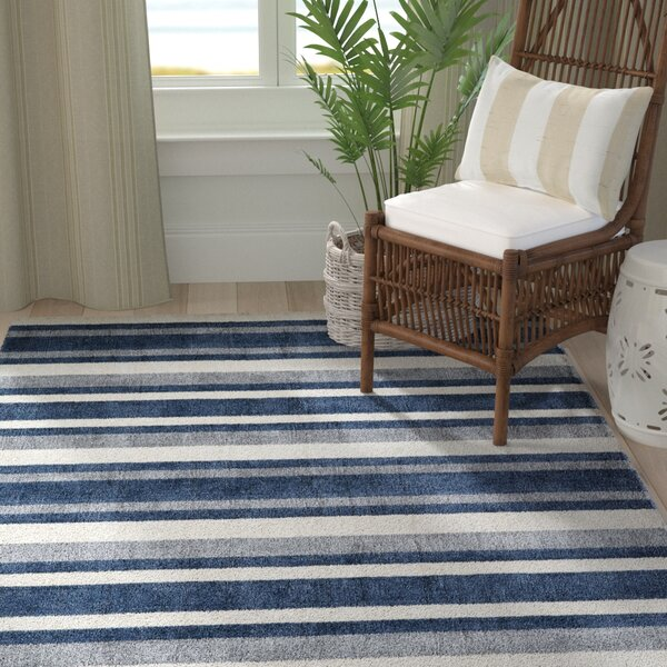 Clevenger Hand-Tufted Navy/Ivory Area Rug by Highland Dunes