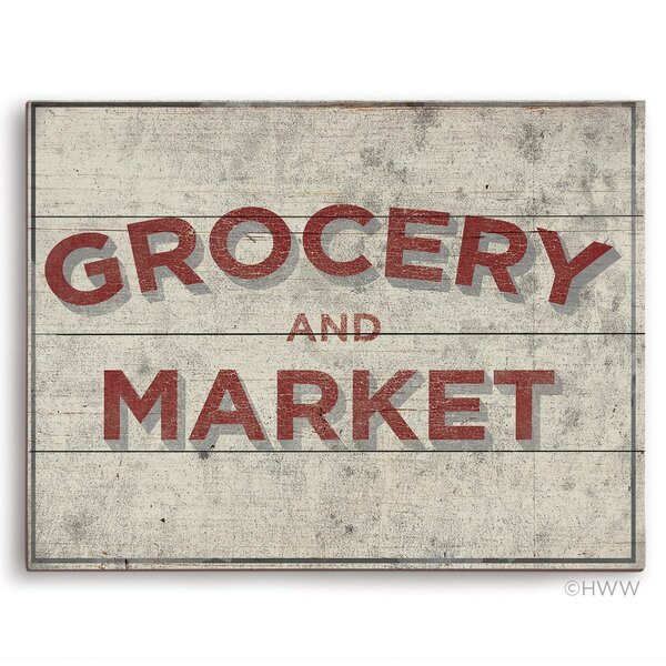 Grocery and Market Wood Textual Art Sign by Click Wall Art