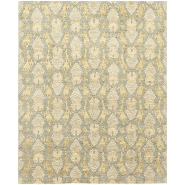 One-of-a-Kind Elderton Hand-Knotted Wool Gray/Yellow Indoor Area Rug by Rosecliff Heights