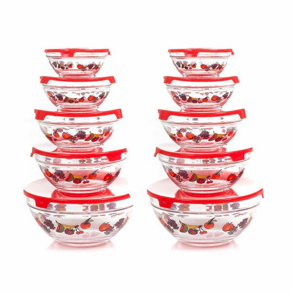 20 Piece Glass Mixing Bowl Set by Chef Buddy