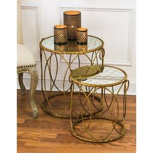 2-Piece Riga Mirrored Nesting Table Set by E..