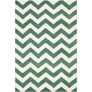 Wilkin Green/White Area Rug