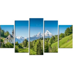 'Green Mountain View of Bavarian Alps' Photographic Print Multi-Piece Image on Canvas by Design Art