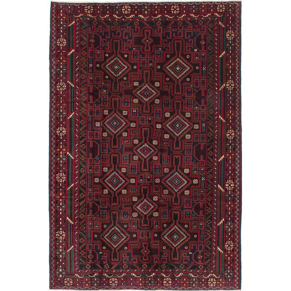 One-of-a-Kind Caya Hand-Knotted Black/Dark Red Area Rug by Isabelline