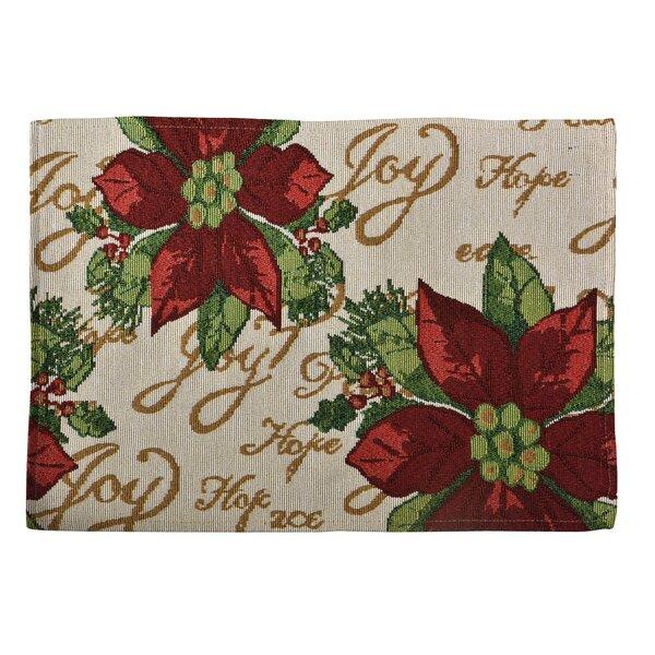 Decorative Christmas Poinsettias Script Tapestry Placemat (Set of 4) by Violet Linen