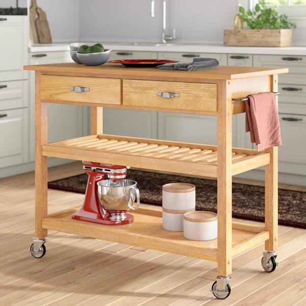 Ewart Kitchen Island with Wood Top by Alcott Hill