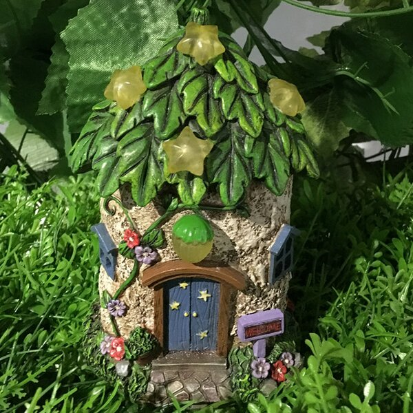 Fairy Garden House with Leaf Roof and Stars - Solar LED Lights Statue by Hi-Line Gift Ltd.