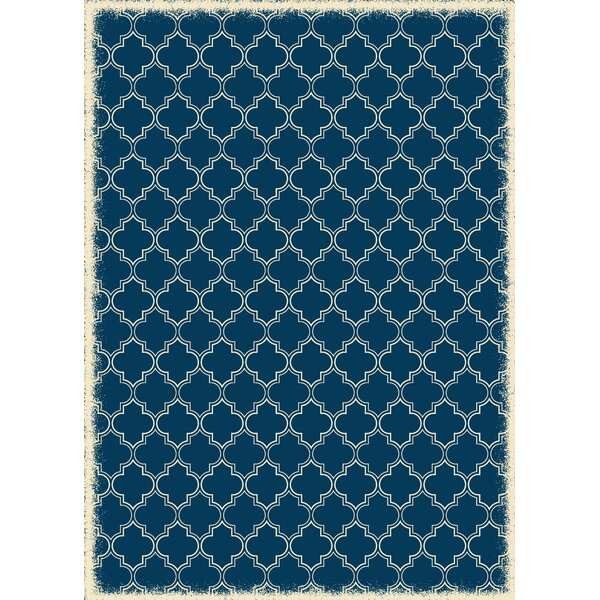 Houchin Quaterfoil Blue/White Indoor/Outdoor Area Rug by Charlton Home