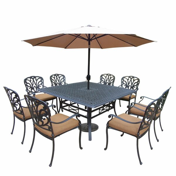 Bosch 9 Piece Dining Set with Cushions and Umbrella by Darby Home Co