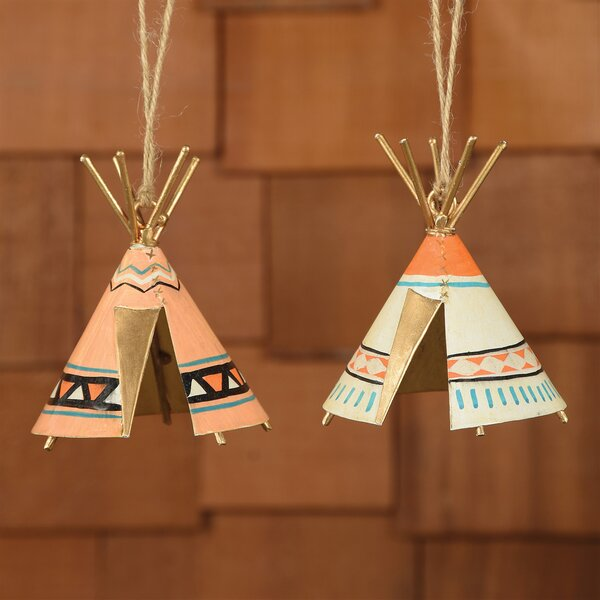 Lochlan Painted Metal Patterned Teepees 2 Piece Sculpture Set by Millwood Pines