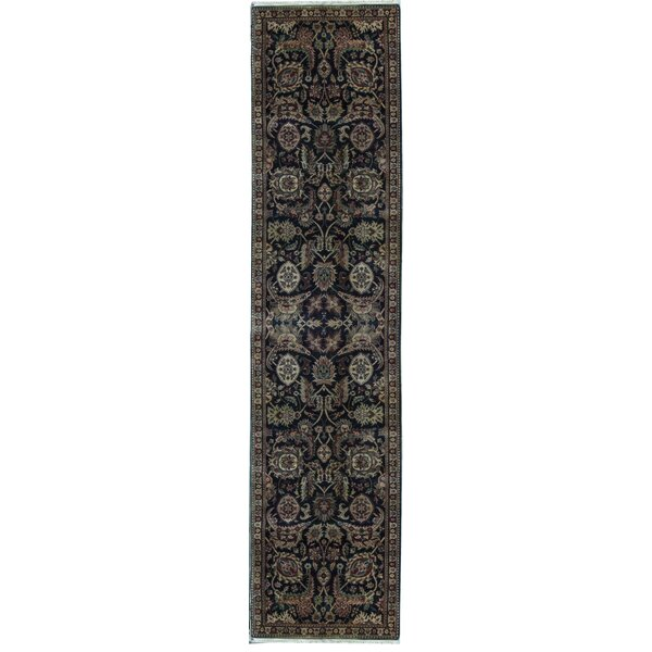 Runner Oriental Hand-Knotted Wool Black/Ivory Area Rug