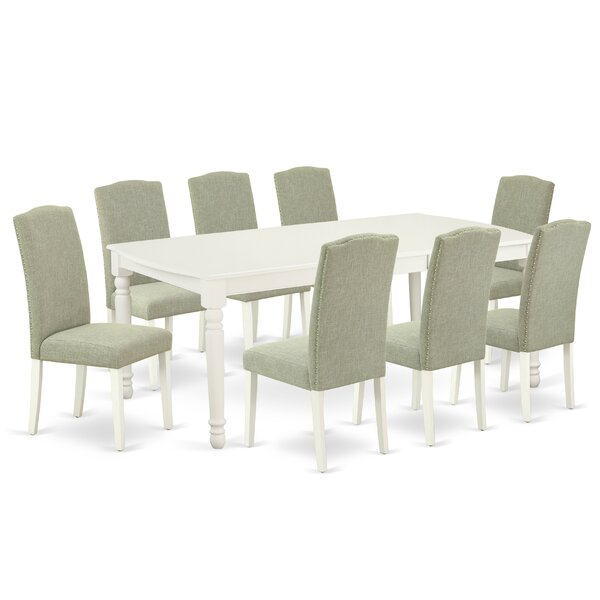 Vickey 9 Piece Extendable Solid Wood Dining Set by Alcott Hill Alcott Hill